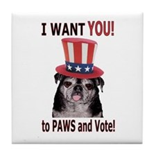 PAWS to Vote! Tile Coaster