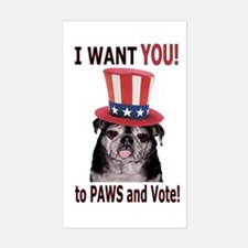 PAWS to Vote! Rectangle Decal