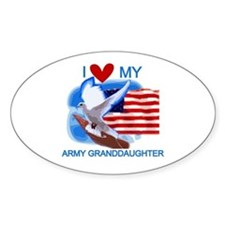Love My Army Granddaughter Oval Decal