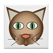 Cool Cartoon Cat Tile Coaster