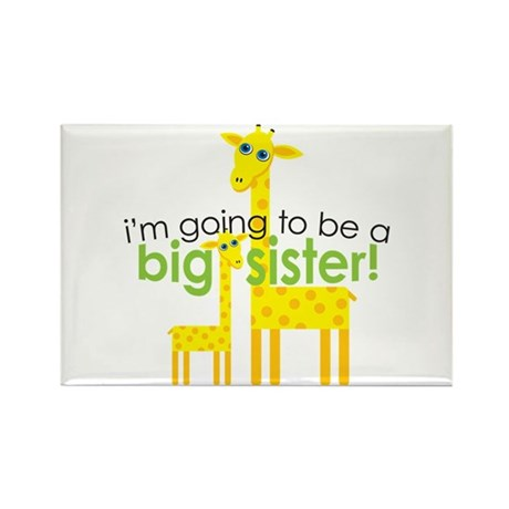 Big Sister To Be Giraffes Rectangle Magnet