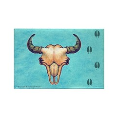 Buffalo Skull turquoise Rectangle Magnet