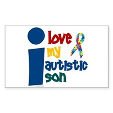I Love My Autistic Son 1 Rectangle Decal