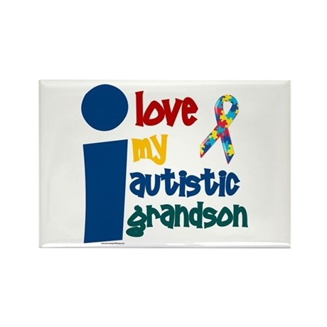 I Love My Autistic Grandson 1 Rectangle Magnet