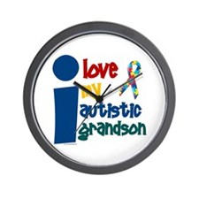 I Love My Autistic Grandson 1 Wall Clock