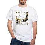 Camo Sleepy Cat White T-Shirt