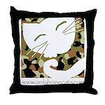Camo Sleepy Cat Throw Pillow