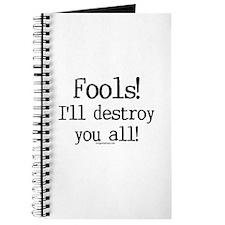 Fools! I'll destroy you all. Journal