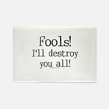 Fools! I'll destroy you all. Rectangle Magnet