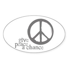 Give Peace a Chance - Grey Oval Decal