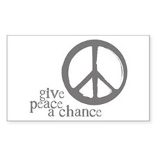 Give Peace a Chance - Grey Rectangle Decal