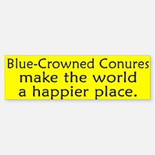 Happy Place Blue Crowned Conure Bumper Bumper Bumper Sticker