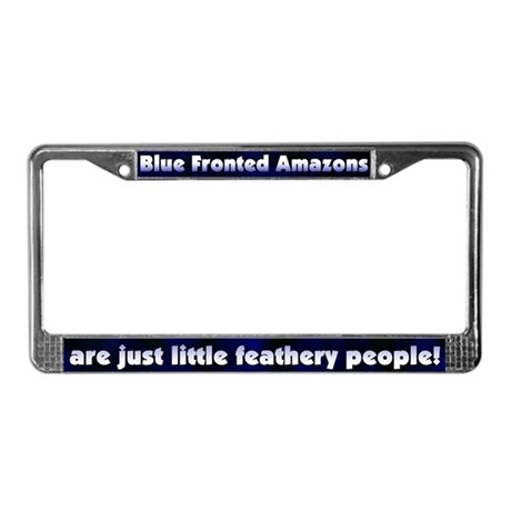 Feathery Ppl Blue Front Amazon License Plate Frame
