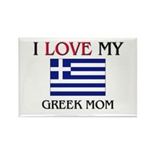 I Love My Greek Mom Rectangle Magnet