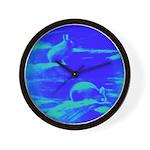 Blue Rabbits Wall Clock