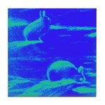 Blue Rabbits Tile Coaster