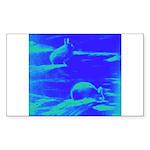 Blue Rabbits Rectangle Sticker