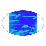 Blue Rabbits Oval Sticker