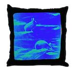 Blue Rabbits Throw Pillow