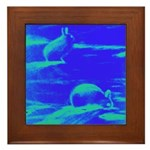 Blue Rabbits Framed Tile