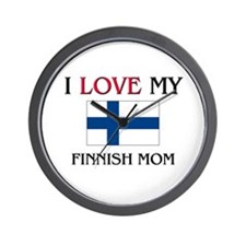 I Love My Finnish Mom Wall Clock