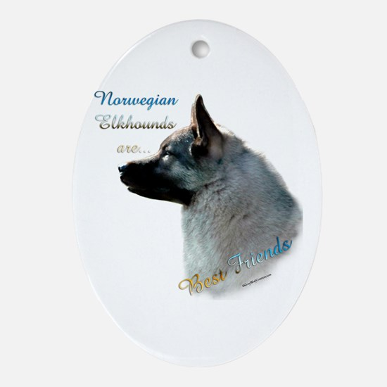Elkhound Best Friend 1 Oval Ornament