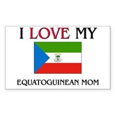 I Love My Equatoguinean Mom Rectangle Decal