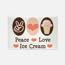Peace Love Ice Cream Rectangle Magnet