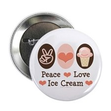 "Peace Love Ice Cream 2.25"" Button (10 pack)"
