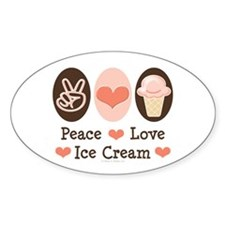 Peace Love Ice Cream Oval Decal