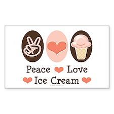 Peace Love Ice Cream Rectangle Decal