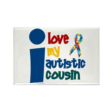 I Love My Autistic Cousin 1 Rectangle Magnet (100