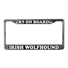 K9 On Board Irish Wolfhound License Plate Frame