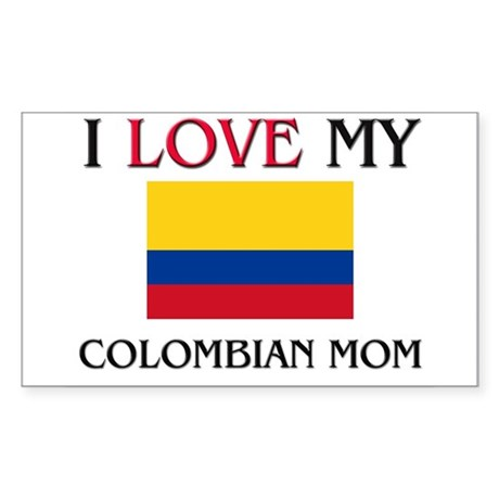 I Love My Colombian Mom Rectangle Sticker