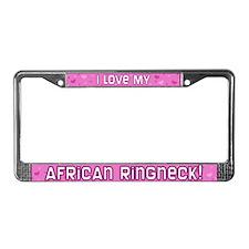 Pink Polka Dt African Ringneck License Plate Frame