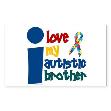 I Love My Autistic Brother 1 Rectangle Sticker