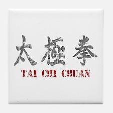 Vintage Tai Chi Calligraphy Tile Coaster