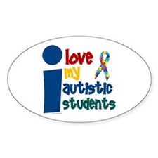 I Love My Autistic Students 1 Oval Decal
