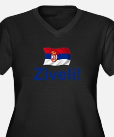Serbia Ziveli Women's Plus Size V-Neck Dark T-Shir