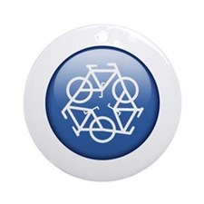 Recycle Bicycle Blue Ornament (Round)
