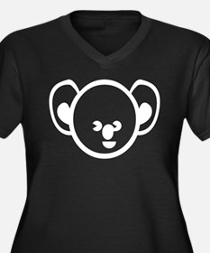 Kola Bear Women's Plus Size V-Neck Dark T-Shirt