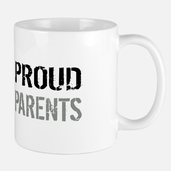 U.S. Flag Grey Line: Proud Parents (Whi Mug