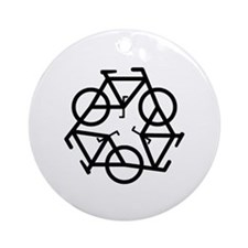 Recycle Bicycle Plain Ornament (Round)