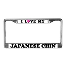 I Love My Japanese Chin License Plate Frame