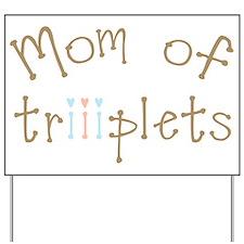 Mom of Triplet Boy Girl Yard Sign