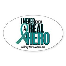 Never Knew A Hero 2 Teal (Niece) Oval Decal