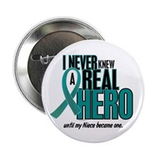 """Never Knew A Hero 2 Teal (Niece) 2.25"""" Button"""