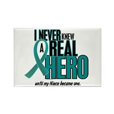 Never Knew A Hero 2 Teal (Niece) Rectangle Magnet