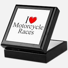 """""""I Love (Heart) Motorcycle Races"""" Keepsake Box"""