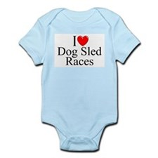 """I Love (Heart) Dog Sled Races"" Infant Bodysuit"